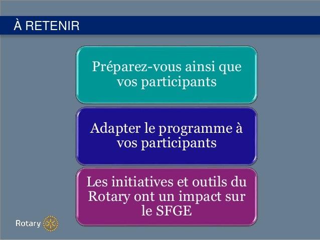 À RETENIR Préparez-vous ainsi que vos participants Adapter le programme à vos participants Les initiatives et outils du Ro...