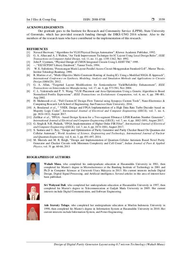 Int J Elec & Comp Eng ISSN: 2088-8708  Design of Digital Parity Generator Layout using 0.7 micron Technology (Wahab Musa)...