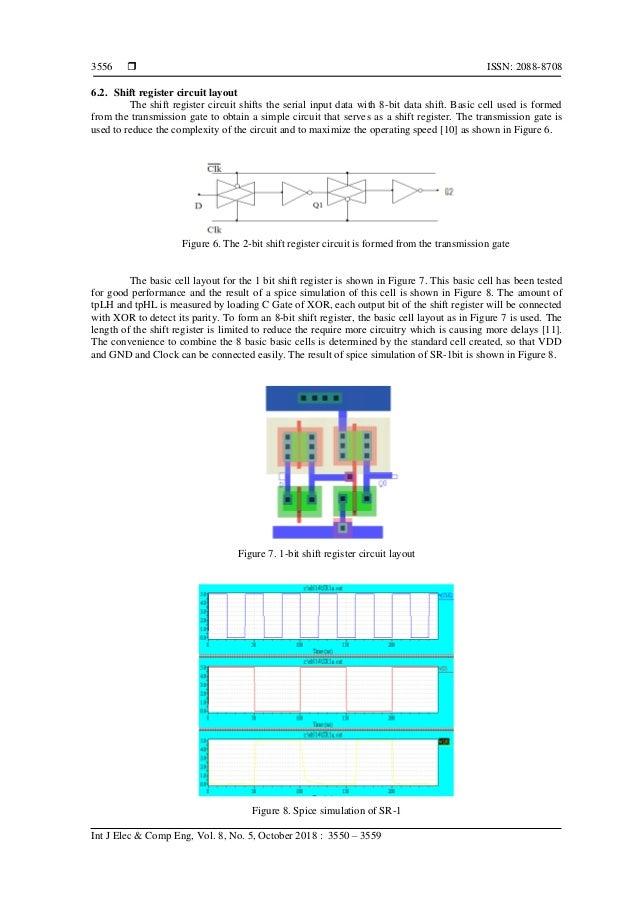  ISSN: 2088-8708 Int J Elec & Comp Eng, Vol. 8, No. 5, October 2018 : 3550 – 3559 3556 6.2. Shift register circuit layout...