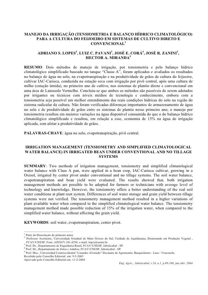 MANEJO DA IRRIGAÇÃO (TENSIOMETRIA E BALANÇO HÍDRICO CLIMATOLÓGICO)     PARA A CULTURA DO FEIJOEIRO EM SISTEMAS DE CULTIVO ...