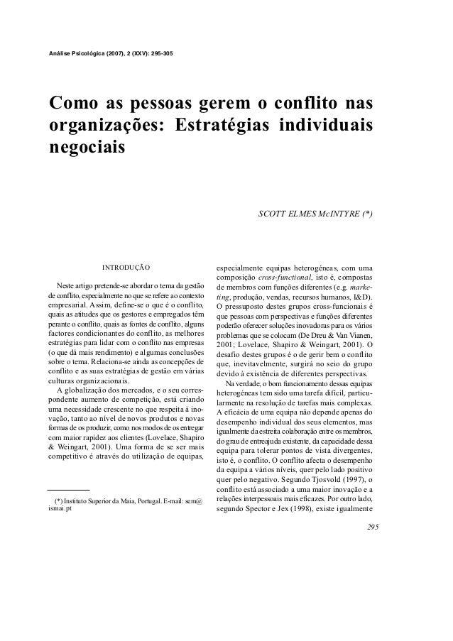 INTRODUÇÃO Neste artigo pretende-se abordar o tema da gestão de conflito, especialmente no que se refere ao contexto empre...