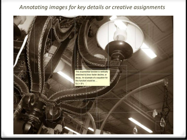Annotating images for key details or creative assignments