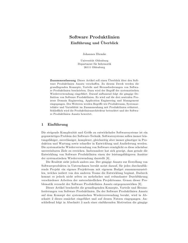 Software Produktlinien                                     ¨                      Einfuhrung und Uberblick                ...