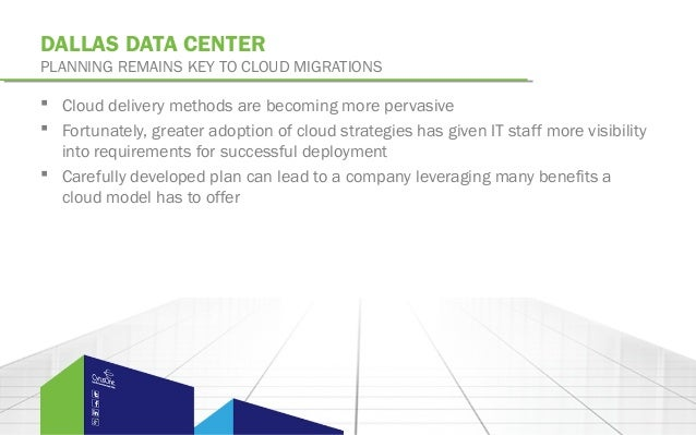 DALLAS DATA CENTERPLANNING REMAINS KEY TO CLOUD MIGRATIONS Cloud delivery methods are becoming more pervasive Fortunatel...