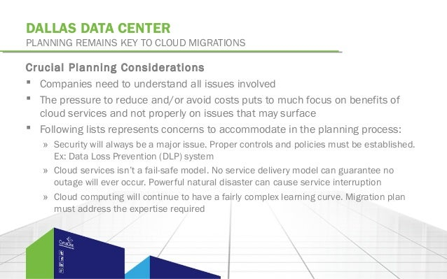 DALLAS DATA CENTERPLANNING REMAINS KEY TO CLOUD MIGRATIONSCrucial Planning Considerations Companies need to understand al...