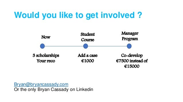 Would you like to get involved ? Bryan@bryancassady.com Or the only Bryan Cassady on Linkedin Now Student Course Manager P...