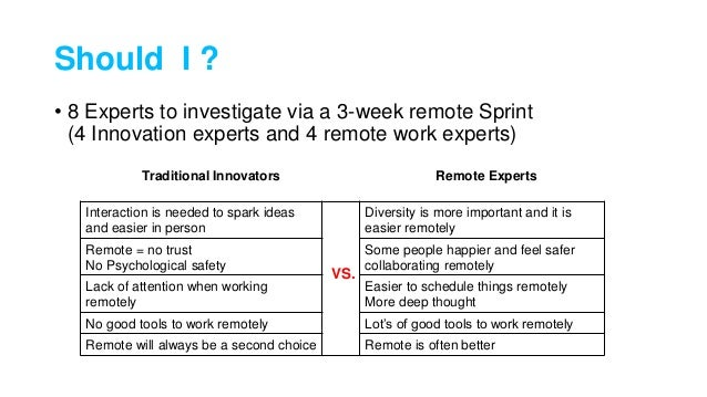 Should I ? • 8 Experts to investigate via a 3-week remote Sprint (4 Innovation experts and 4 remote work experts) Interact...