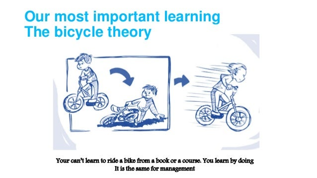 Our most important learning The bicycle theory Your can't learn to ride a bike from a book or a course. You learn by doing...