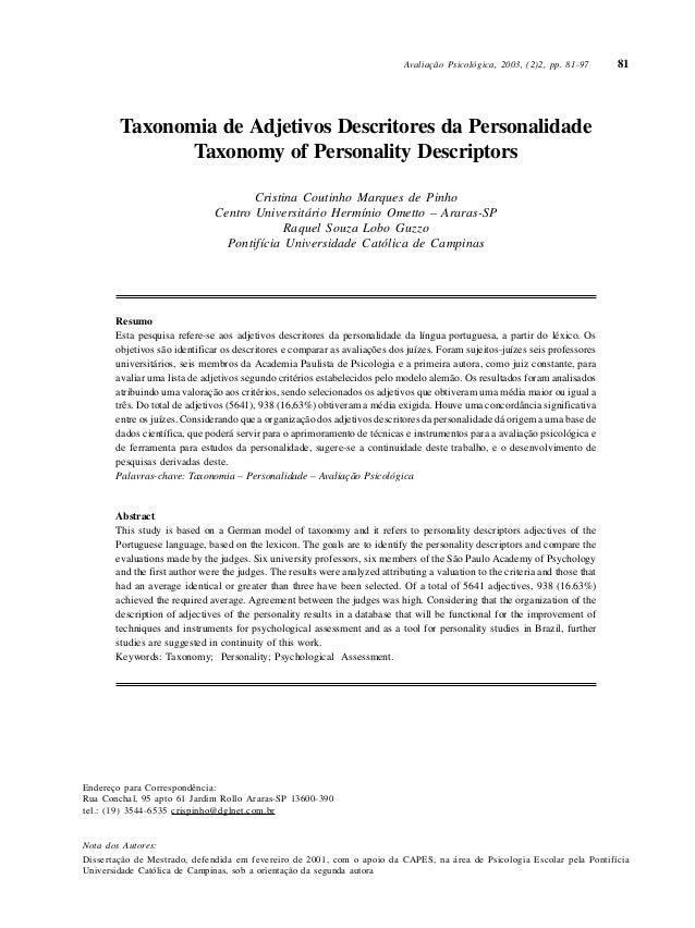 Avaliação Psicológica, 2003, (2)2, pp. 81-97 81  Taxonomia de Adjetivos Descritores da Personalidade  Taxonomy of Personal...