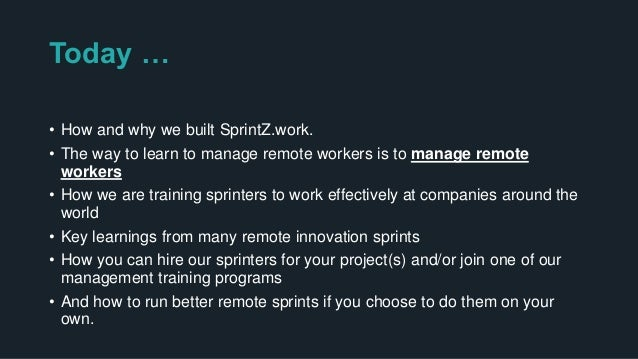 """The Story of Sprintz.work 1. A request """" Create a remote Innovation Management Program"""" 2. Should I ? 3. Could I ? 4. How ..."""