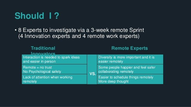 Should I ? 8 Experts to investigate via a 3-week remote Sprint (4 Innovation experts and 4 remote work experts) Interactio...