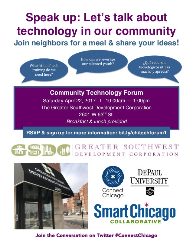 Join the Conversation on Twitter #ConnectChicago Speak up: Let's talk about technology in our community Join neighbors for...
