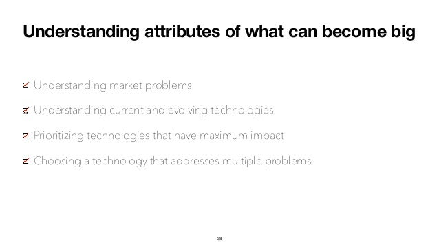 Understanding attributes of what can become big Understanding market problems Understanding current and evolving technolog...