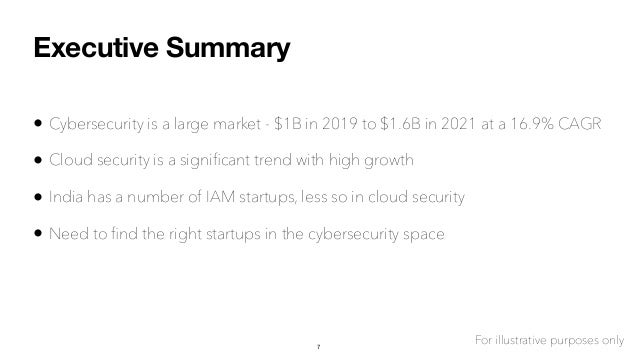 Executive Summary • Cybersecurity is a large market - $1B in 2019 to $1.6B in 2021 at a 16.9% CAGR • Cloud security is a s...