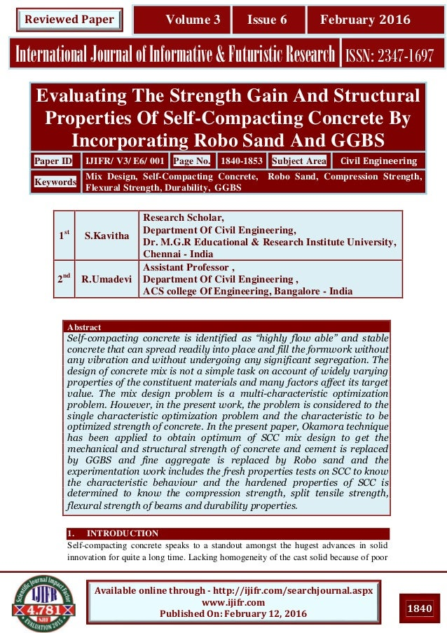 evaluating the strength gain and structural properties of self