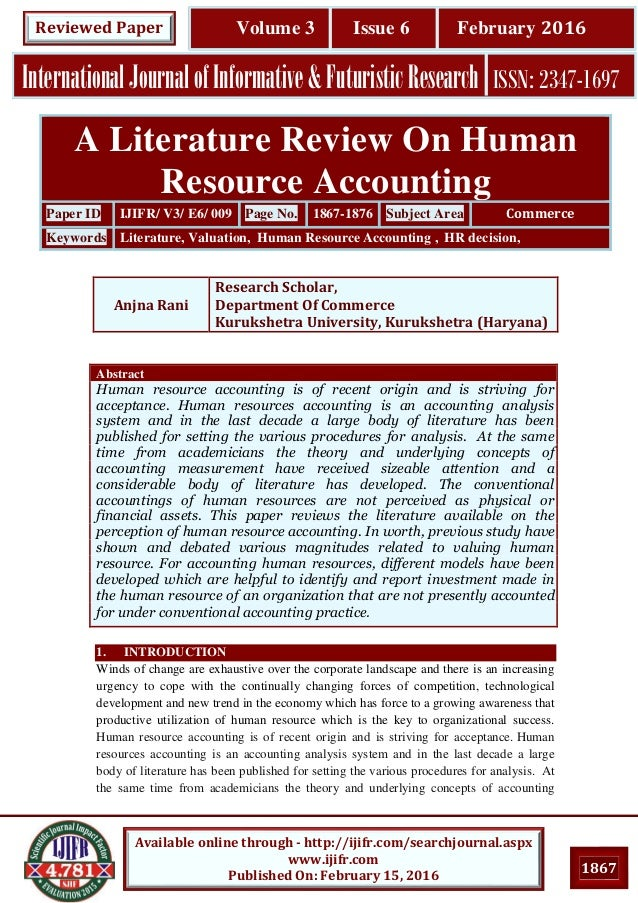 literature review human resources essay Free essay: strategic human resources management: a review of the literature and a proposed typology cynthia a lengnick-hall mark l lengnick-hall the.