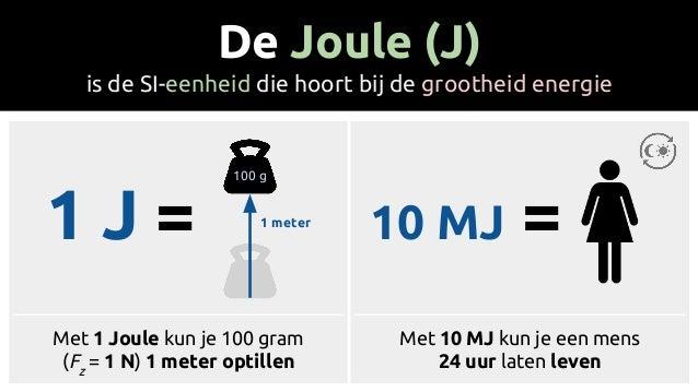 1 J = 10 MJ = De Joule (J) is de SI-eenheid die hoort bij de grootheid energie 100 g 1 meter Met 1 Joule kun je 100 gram (...