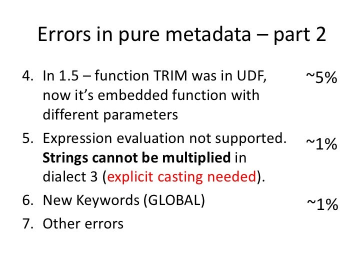 Errors in pure metadata – part 24. In 1.5 – function TRIM was in UDF,     ~5%   now it's embedded function with   differen...
