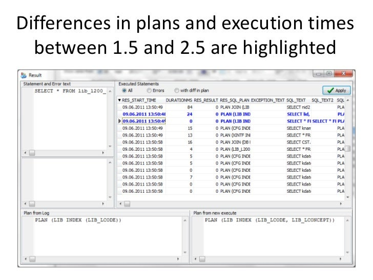 Differences in plans and execution times  between 1.5 and 2.5 are highlighted