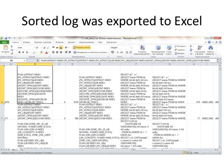 Sorted log was exported to Excel