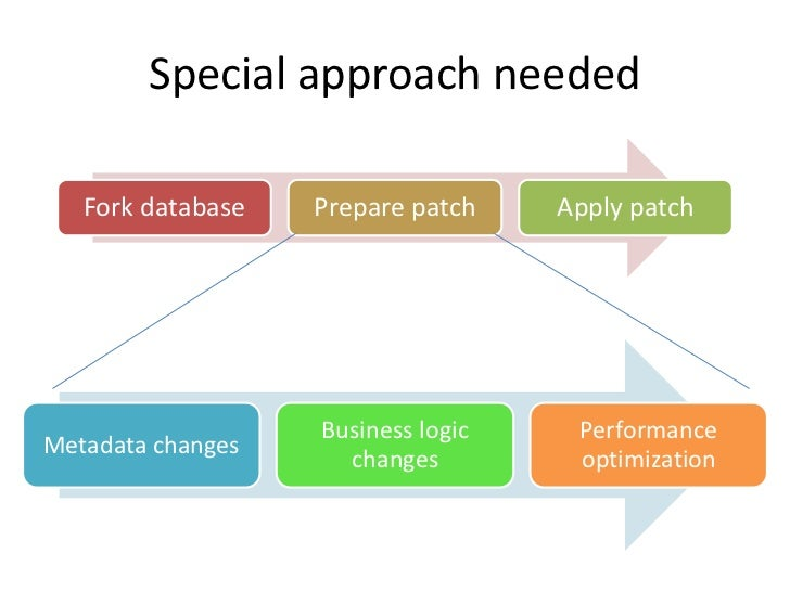 Special approach needed   Fork database   Prepare patch    Apply patch                   Business logic    PerformanceMeta...