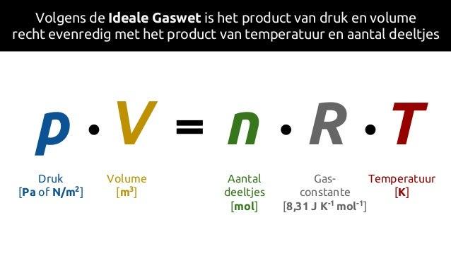 Volgens de Ideale Gaswet is het product van druk en volume recht evenredig met het product van temperatuur en aantal deelt...