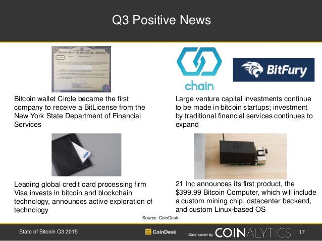 Sponsored by Q3 Positive News 17State of Bitcoin Q3 2015 21 Inc announces its first product, the $399.99 Bitcoin Computer,...