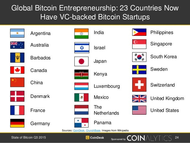 Sponsored by Global Bitcoin Entrepreneurship: 23 Countries Now Have VC-backed Bitcoin Startups Sources: CoinDesk, CrunchBa...