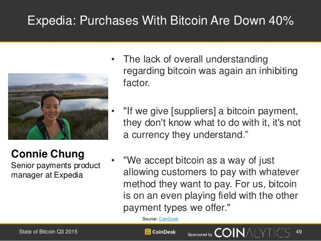 Sponsored by Expedia: Purchases With Bitcoin Are Down 40% • The lack of overall understanding regarding bitcoin was again ...