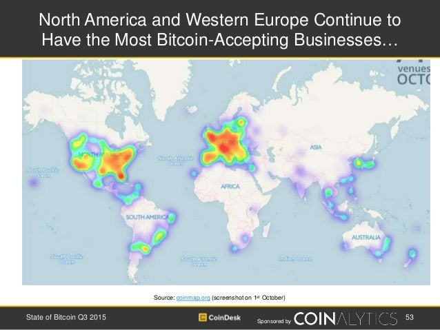Sponsored by North America and Western Europe Continue to Have the Most Bitcoin-Accepting Businesses… 53State of Bitcoin Q...