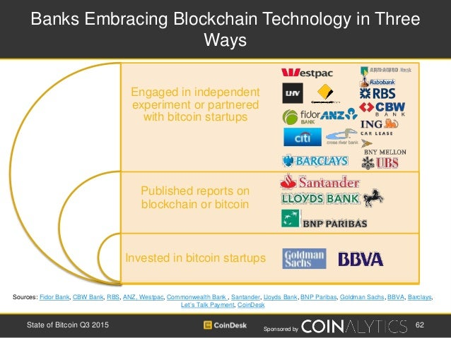 Sponsored by Engaged in independent experiment or partnered with bitcoin startups Published reports on blockchain or bitco...