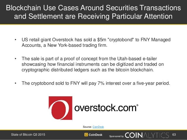 Sponsored by Blockchain Use Cases Around Securities Transactions and Settlement are Receiving Particular Attention • US re...