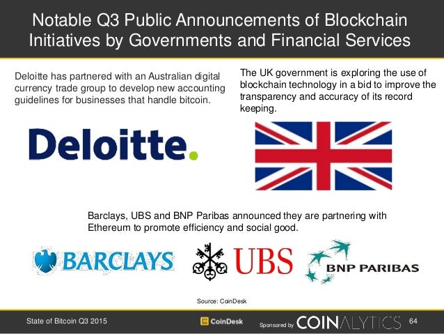 Sponsored by Notable Q3 Public Announcements of Blockchain Initiatives by Governments and Financial Services 64State of Bi...