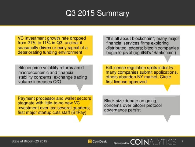 Sponsored by Q3 2015 Summary 7State of Bitcoin Q3 2015 BitLicense regulation splits industry: many companies submit applic...