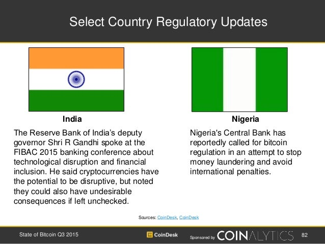Sponsored by Select Country Regulatory Updates 82State of Bitcoin Q3 2015 Sources: CoinDesk, CoinDesk The Reserve Bank of ...