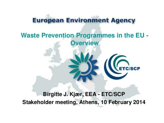 Waste Prevention Programmes in the EU Overview  Birgitte J. Kjær, EEA - ETC/SCP Stakeholder meeting, Athens, 10 February 2...