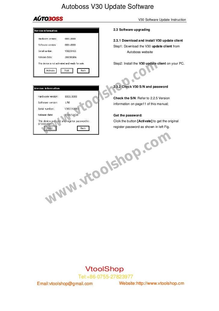 Autoboss V30 Update Software                                                       V30 Software Update Instruction        ...