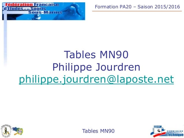 Formation PA20 – Saison 2015/2016 Tables MN90 Tables MN90 Philippe Jourdren philippe.jourdren@laposte.net