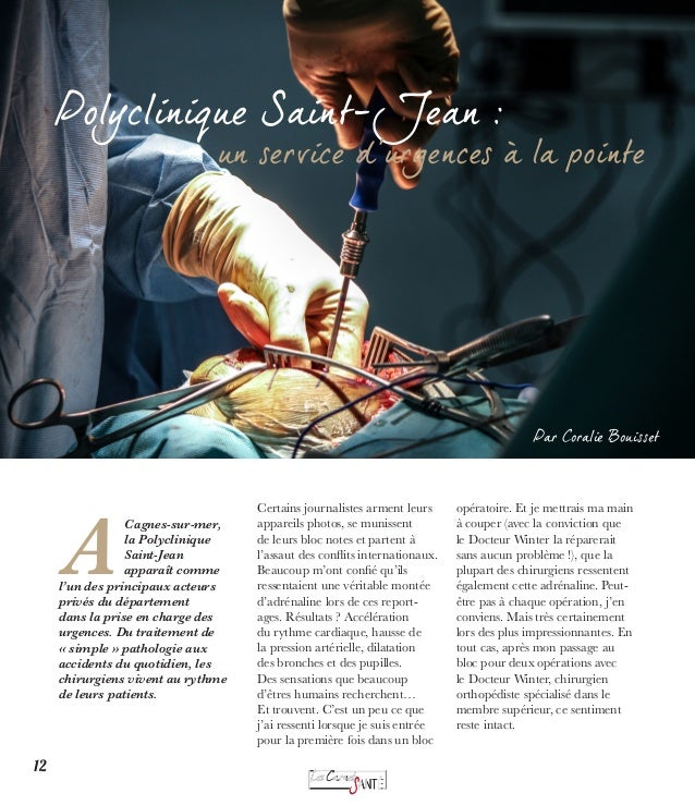 Dossier Pathologie : Le Cancer du sein  Pathologie : Le Cancer du sein  12  Polyclinique Saint-Jean :  un service d'urgenc...