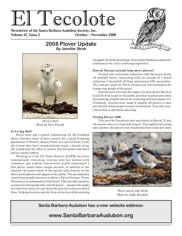 El TecoloteNewsletter of the Santa Barbara Audubon Society, Inc. Volume 47, Issue 2				 October—November 2008 In An Egg Sh...