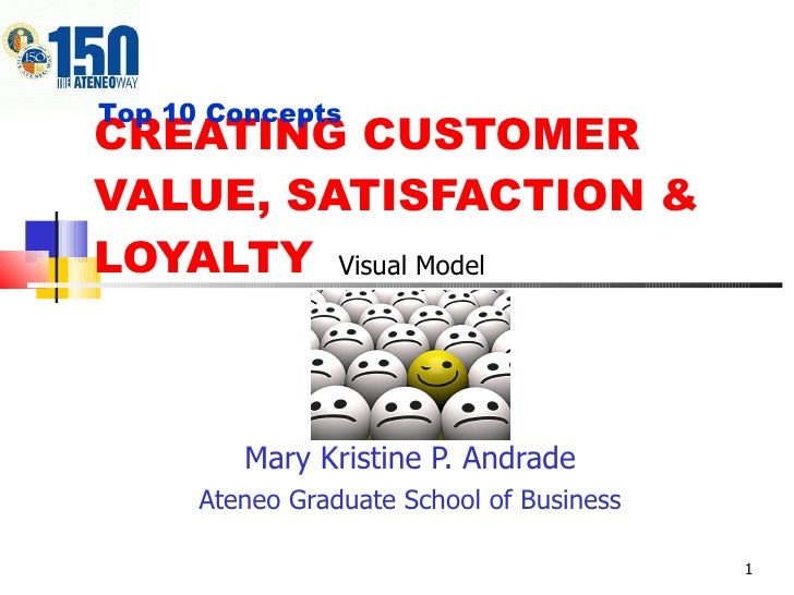 CREATING CUSTOMER VALUE, SATISFACTION & LOYALTY Mary Kristine P. Andrade Ateneo Graduate School of Business Top 10 Concept...