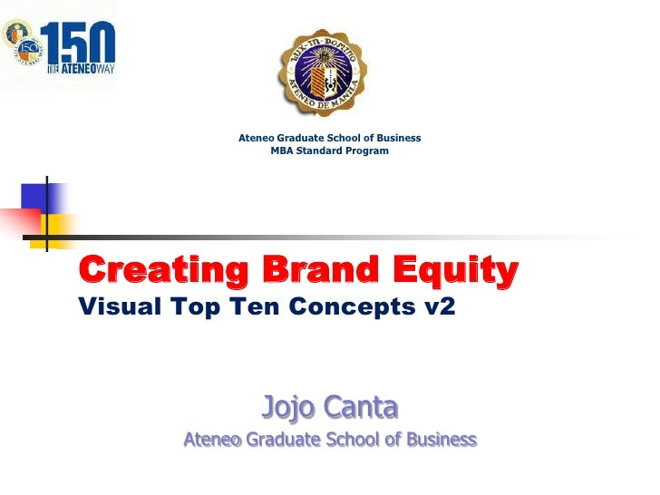Ateneo Graduate School of Business<br />MBA Standard Program<br />Creating Brand EquityVisual Top Ten Concepts v2<br />Joj...
