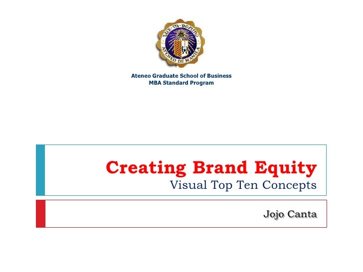 Creating Brand EquityVisual Top Ten Concepts<br />JojoCanta<br />Ateneo Graduate School of Business<br />MBA Standard Prog...