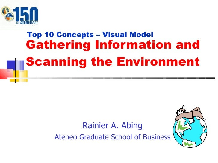 Gathering Information and Scanning the Environment Rainier A. Abing Ateneo Graduate School of Business Top 10 Concepts – V...