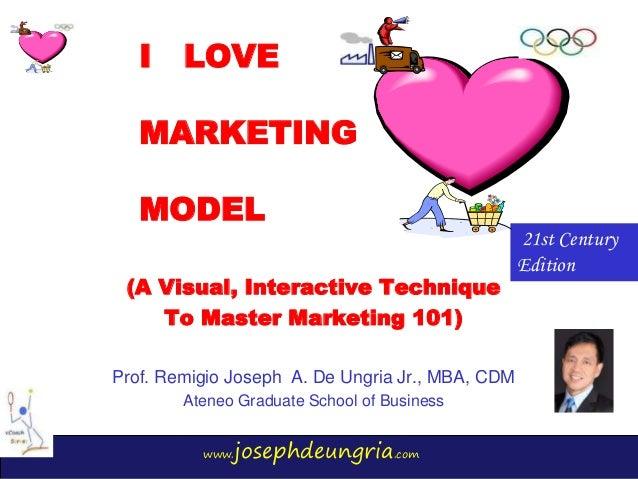 www.josephdeungria.com I LOVE MARKETING MODEL (A Visual, Interactive Technique To Master Marketing 101) Prof. Remigio Jose...
