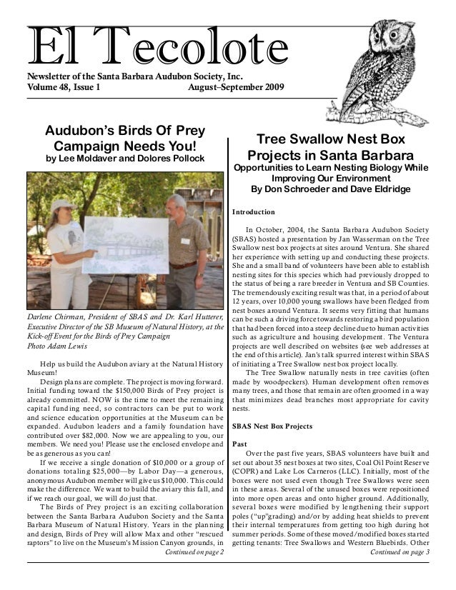 El TecoloteNewsletter of the Santa Barbara Audubon Society, Inc. Volume 48, Issue 1				 August–September 2009 Audubon's Bi...