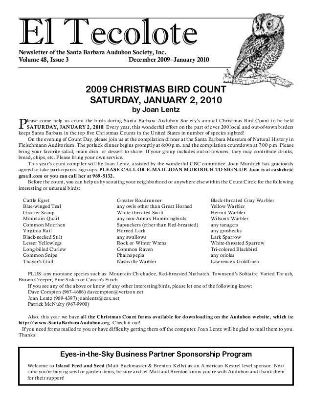 El TecoloteNewsletter of the Santa Barbara Audubon Society, Inc. Volume 48, Issue 3 December 2009–January 2010 Please ...