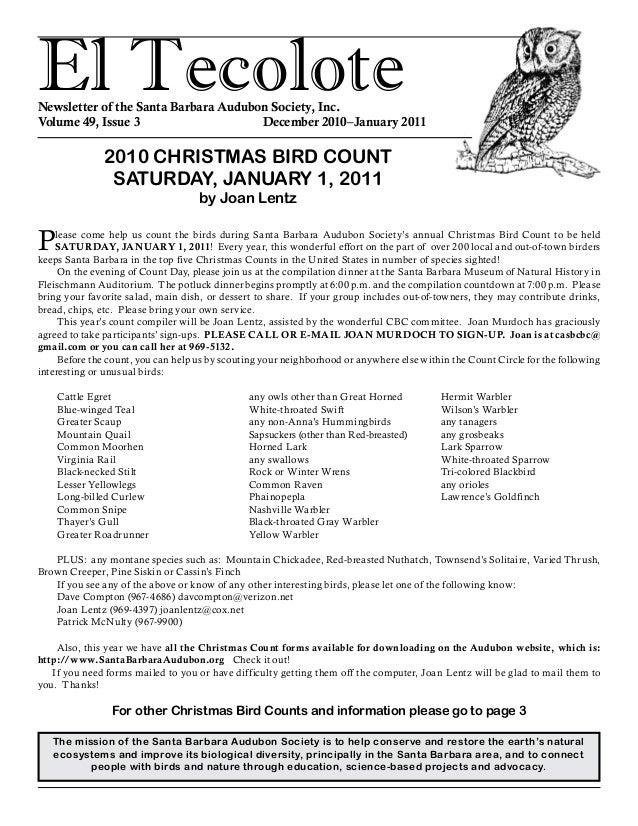 El TecoloteNewsletter of the Santa Barbara Audubon Society, Inc. Volume 49, Issue 3 December 2010–January 2011 The mis...