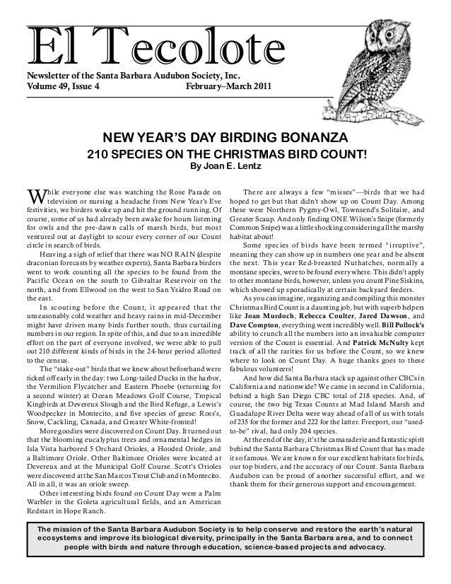 El TecoloteNewsletter of the Santa Barbara Audubon Society, Inc. Volume 49, Issue 4 February–March 2011 The mission of...