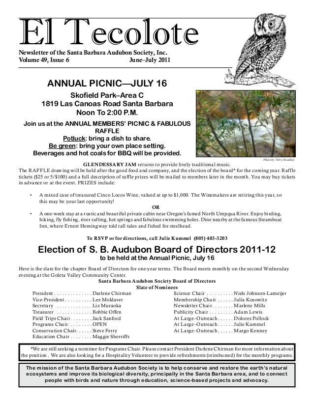 El TecoloteNewsletter of the Santa Barbara Audubon Society, Inc. Volume 49, Issue 6 June–July 2011 The mission of the ...